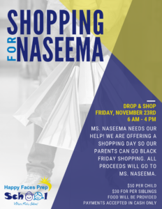 drop and shop event for naseema